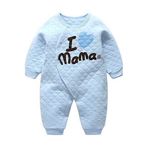 Jingjqingcao Cozy Newborn Baby Rompers Boy Girl Long Sleeve Printed Infant Jumpsuit Blue Mama -