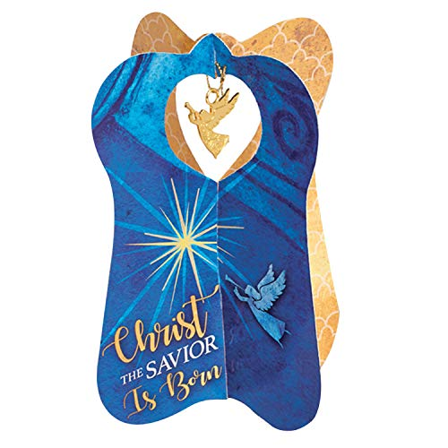 Christ the Savior Is Born Blue 6 x 5 Paper Christmas Card and Ornament Pack of 2