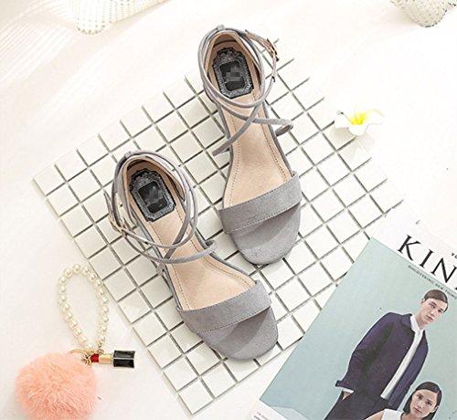 3cm Metal Las zapatos Talones La Partido Formales Zhhzz Liangxie Hebilla Gruesos De Mujeres Cuadrada Atractivas Boda Gris Sólido Huecos Del Serie sandalias Comodidad Clásica OFwqAgt