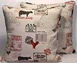 A set of 2 18'' Huddersfield Farmhouse Country Cows and Chickens Red Black and Cream Decorative Throw Pillows and Forms