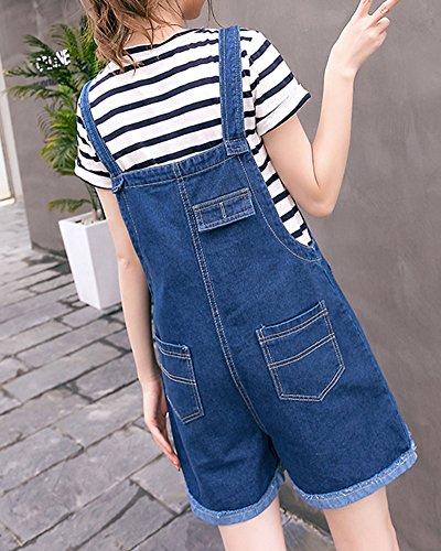 Donna Breve Sciolto Salopette Rompers Quge Elegante Casual Vita Blu Jeans Alta FxwHdSqT