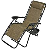 Sunnydaze Brown Outdoor Zero Gravity Lounge Chair Pillow Cup Holder
