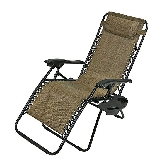 Sunnydaze Outdoor Zero Gravity Lounge Chair with Pillow and Cup Holder, Folding Patio Lawn Recliner, Set of 2, Brown - COMFORTABLE SIZE: Anti gravity beach lounger is 26 inches wide x 69 inches long x 34 inches deep x 42 inches tall; Each chair weighs 15 pounds; Seat height: 14.5 inches; Seat width: 22 inches; Arm height: 27 inches; Weight capacity: 250 pounds DURABLE CONSTRUCTION: Collapsible chair is made of powder-coated steel tube framing and all-weather, fade-resistant Textilene sling seat and seat back material COMES FULLY ASSEMBLED: Camping chair pack includes 2 cup holder and 2 removable headrest pillow so you can easily relax wherever you go; Can be enjoyed on the deck, yard, porch, or by the pool - patio-furniture, patio-chairs, patio - 51CTgUmE%2BwL. SS570  -