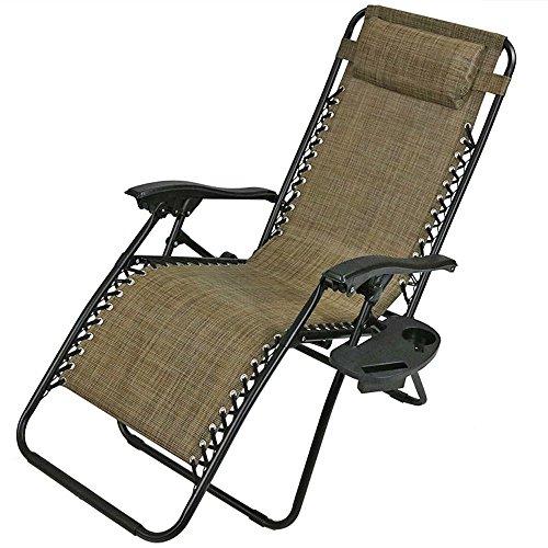 Sunnydaze Brown Outdoor Zero Gravity Lounge Chair Pillow Cup Holder by Sunnydaze Decor
