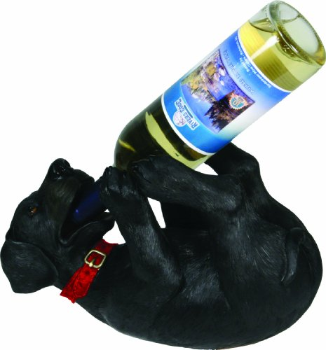 Rivers Edge Hand Painted Poly Resin Black Lab Wine Bottle Holder (Dog Wine Holder)