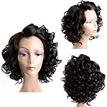 FeiBin Synthetic Lace Front Wig Curly Wavy Hair Wigs For Black Women Short Hairstyles Nutural Black Color