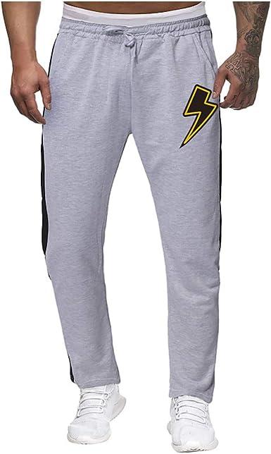 Youngii - Pantalón de chándal para Hombre, diseño de Rayas Gris ...