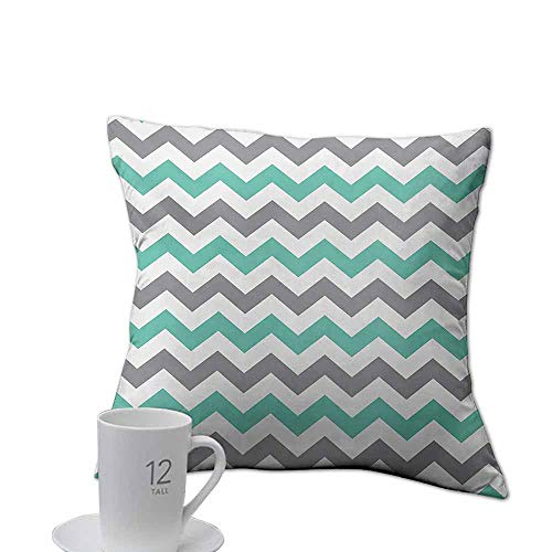 branddy Toy Pillow case Chevron,Chevron Pattern Geometric Wavy Zigzag Herringbone Stripes Illustration,Seafoam Grey White.jpg 16