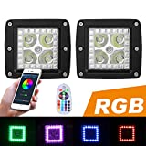 halo lights cars - PROAUTO LED Work Light with RGB Halo and Remote for Jeep Wangler 12w Flash Spotlight with Harness for SUV Pick-up RGB Off Road Light for Truck