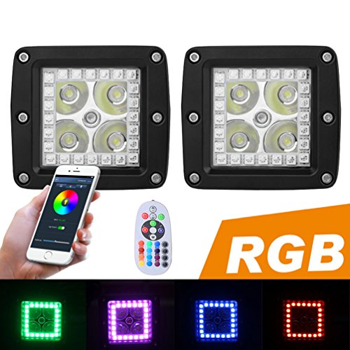 Price comparison product image PROAUTO LED Work Light with RGB Halo and Remote for Jeep Wangler 12w Flash Spotlight with Harness for SUV Pick-up RGB Off Road Light for Truck