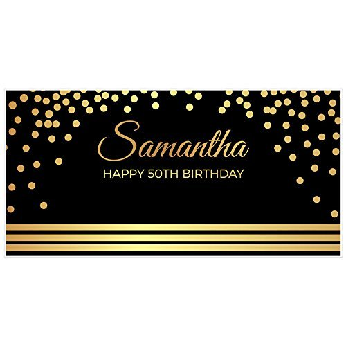 amazon com elegant gold and black 50th birthday banner party
