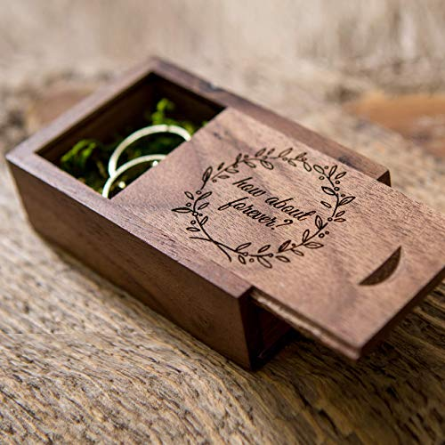 (How about forever? Walnut Ring Box with moss filling for Proposals & Engagements - Small Wedding Ring Bearer Box Photo Prop)