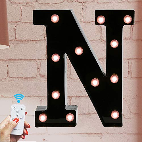 Marquee Letter Sign Lights - Light Up Black N Letters Home Decor Name Signs - Battery Operated LED Remote Timer - Lighted Vintage Accessories & Decorations (Decor Name Letters)