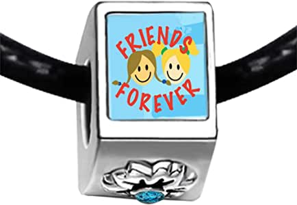 Chicforest Silver Plated Forever Photo Friendship Photo Blue Zircon Crystal December Birthstone Flower Charm Beads Fits Pandora Bracelet