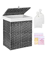 Greenstell Laundry Hamper with 2 Removable liner Bags & 2 Mesh Laundry Bags, Handwoven Laundry Basket, Synthetic Rattan Panier à Linge with Lid and Handles, 90L Waterproof Foldable and Easy to Install Clothes Hamper for Bedroom, Bathroom (Grey)