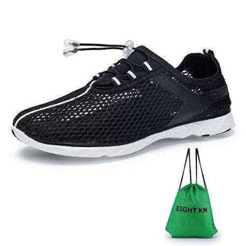 ACHT KM Männer und Frauen Wasser Schuhe schnell trocknend Slip On Aqua Schuhe Schwarz