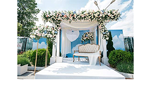 Leowefowa Romantic Floral Wedding Stage French Gate Vinyl 12x8ft Photo Background Wedding Ceremony Backdrops Bride Groom Portrait Shoot Bridal Shower Wedding Photo Booth Event Activities Banner