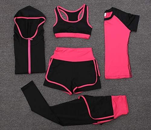 XSWY Pantalon Taille Haute + Short + Soutien-Gorge + T-Shirt + Manteaux de 5PCS PORTIER en Cours d'exécution Yoga Sec Rapides vêtements for Femmes Fitness Gym Jeux