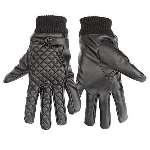 Flammi Men's Touchscreen PU Leather Driving Gloves (Pair, Black)
