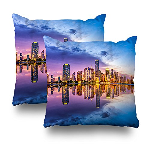 Asoco Throw Pillow Covers,Miami Florida Usa Skyline On Biscayne Bay Double-sided Pattern Sofa Cushion Cover Couch 18 x 18 inch Decorative Home Gift Bed Pillowcase Summer Tropical Sea Beach ()