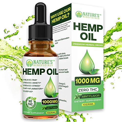 Organic Hemp Oil Extract Drops 1000mg - Ultra Premium Pain Relief Anti-Inflammatory, Stress & Anxiety Relief, Joint Support, Sleep Aid, Omega Fatty Acids 3 6 9, Non-GMO Ultra-Pure CO2 Extracted
