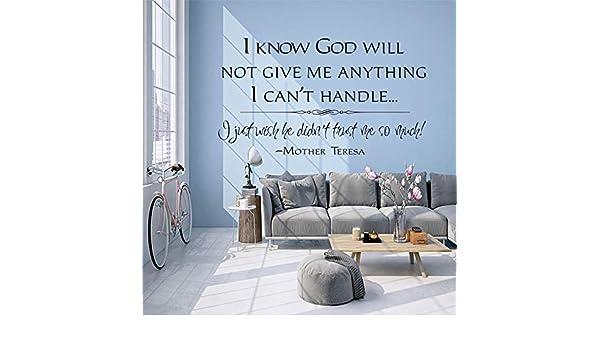 Ajcwhml Cristianos, sé Que Dios no me dará Ninguna calcomanía de Pared Que no Pueda Manejar en la decoración de murales religiosos de Arte Mural. 96x64cm: Amazon.es: Hogar