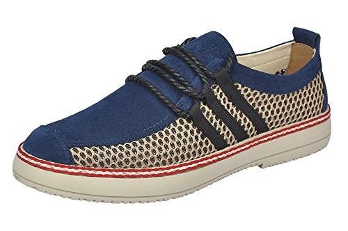 Serene Heren Zomer Casual Ademende Suède Mesh Lace-up Mode Sneaker Blauw