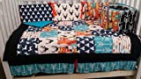 Woodland 1 to 4 Piece baby boy nursery crib bedding Quilt, bumper, and bed skirt, Buck, deer, fawn, head silhouette, Arrow, Teepee, Aztec Turquoise, navy, orange, black