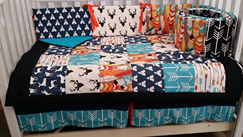 - Woodland 1 to 4 Piece baby boy nursery crib bedding Quilt, bumper, and bed skirt, Buck, deer, fawn, head silhouette, Arrow, Teepee, Aztec Turquoise, navy, orange, black