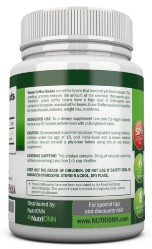 GREEN COFFEE BEAN EXTRACT with GCA, 800mg - 90 Vegetarian Capsules - Best Value For Price! - Highest Quality Pure Natural Coffee Extract for Weight Loss by NutriONN (Image #2)