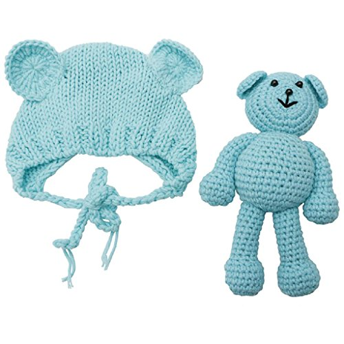 ShapeW Newborn Photography Prop Photo Crochet Boys Girls Knit Toy Bear Hats,Infant Baby (Blue)