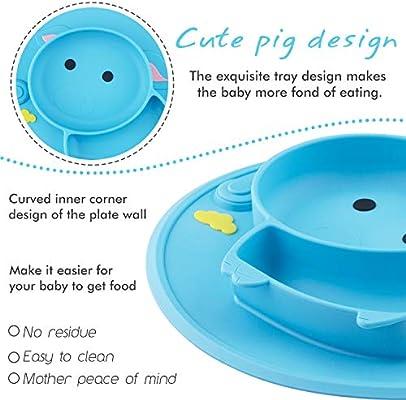 Assiette /à ventouse pour b/éb/é silicone set de table pour b/éb/é avec compartiments solide et /épaisse plaque dalimentation antid/érapante pour tout-petits Les enfants avec une forte aspiration
