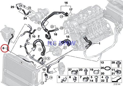 BMW Genuine Cooling System Coolant Hose Top - Vent Line For Radiator 135i X1 35iX 135i 335i 335xi 335i 335xi 335i
