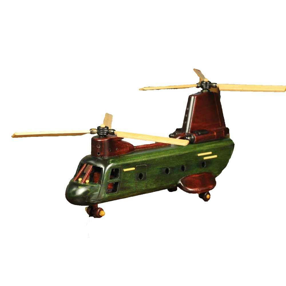 Cosette Vintage Collect Handmade Realistic Classic Green Helicopter Wooden Plane Model