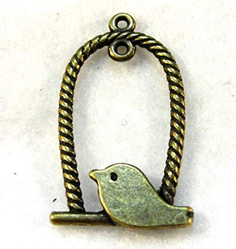- 10Pcs. Tibetan Antique Bronze Bird On A Swing Charms Earring Drops BD114 Crafting Key Chain Bracelet Necklace Jewelry Accessories Pendants