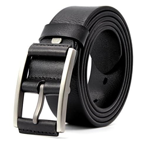 2a138d43cf018 3ZHIYI Vintage Cinturón de piel de 100% búfalo cuero de pantalones vaqueros para  hombre 50