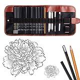 Dowswin 18 Pieces Pen Charcoal Sketch Set Sketching Pencil Set of Pencils Eraser