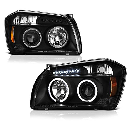 [For 2005-2007 Dodge Magnum] LED Halo Ring Black Projector Headlight Headlamp Assembly, Driver & Passenger Side