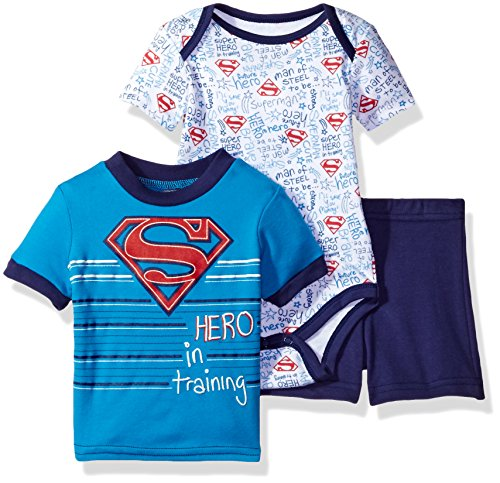 Warner Brothers Baby Boys' Superman 3 Piece Bodysuit and Short Set, Blue 3/6M ()