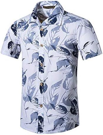 LFNANYI Camisas de Playa para Hombres Camisa de algodón Hawaiano ...