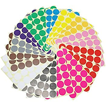 LJY 32mm Round Dot Stickers Color Coding Labels 12 Different Assorted Colors