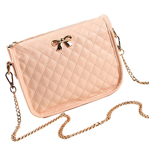 Sunwel Fashion Small Mini Quilted Classic Cross Body Messenger Shoulder Purse Bag Satchel with Gold Chain Strap