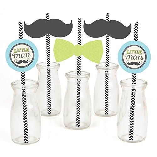 (Dashing Little Man Mustache Paper Straw Decor - Baby Shower or Birthday Party Striped Decorative Straws - Set of)