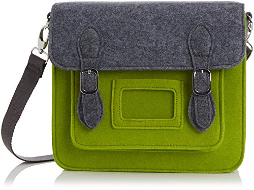 Urban Country Messenger Bag Small Satchel, Grey/ Green UC008002-Green