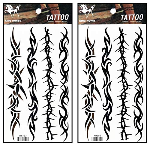 Tattoos 2 Sheets Barbed Wire Creeper Vine Temporary Tattoos Stickers Fake Body Arm Chest Shoulder Tattoos for Teens Men Women (Best Barbed Wire Tattoo)