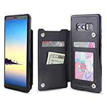 Gear Beast Galaxy Note 8 Wallet Case, Top View Flip Folio Case For Galaxy Note 8 Slim Protective PU Leather Case 3 Slot Card Holder Including ID Holder For Men and Women Bonus ScreenProtector