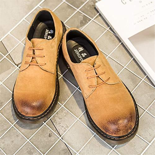 color Cordones Para Amarillo Botines De Moda Ox 43 Casuales Chenjuan Punta Hombre Cuero Tamaño Trabajo Eu Con Zapatos Redonda qgw6ytO