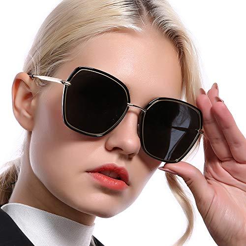 REBSUN Oversized Sunglasses for Women Polarized UV Protection Big Square Black Designer Sunglasses Fashion Women Black ()