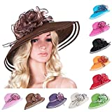 Women Dress Church Wedding Kentucky Derby Wide Brim Straw Summer Beach Hat A115