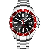 Stuhrling Original Dive Watches for Men - Black Dial Red Bezel Mens Watch with Screw Down Crown Waterproof to 330 Ft. - Analog Dial, Quartz Movement - Depthmaster Mens Watches Collection
